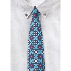 Bold Cotton Print Tie in Blue, Aqua, and Red