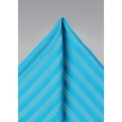 Aqua Blue Striped Pocket Square