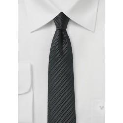 Jet Black Skinny Tie with Stripes