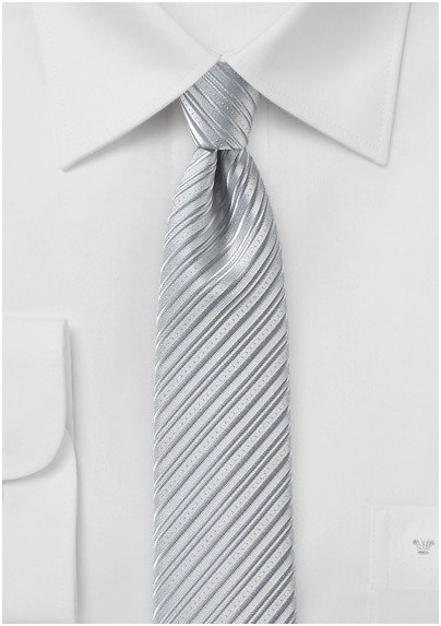 Silver Skinny Tie with Modern Stripes