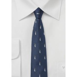 Navy Tie with Penguin Pattern