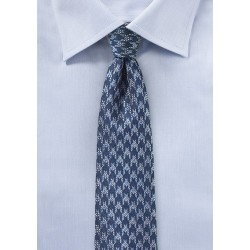 Blue Houndstooth Check Tie