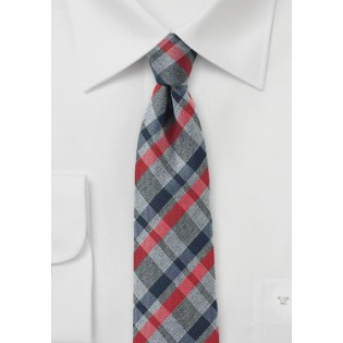 Faded Plaid Silk Tie in Gray and Red