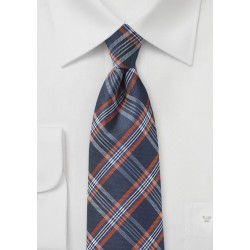 Navy, Orange, and Silver Tartan Tie