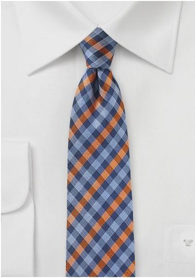 Blue and Orange Micro-check Tie