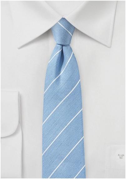 Powder Blue Striped Linen Tie