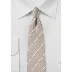 Tan Colored Striped Linen Tie