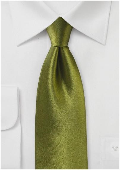 Moss Green Satin Silk Tie