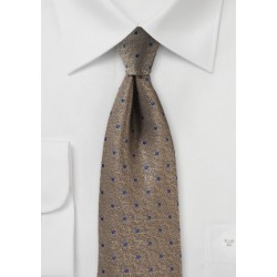 Bronze Textured Tie with Blue Dots