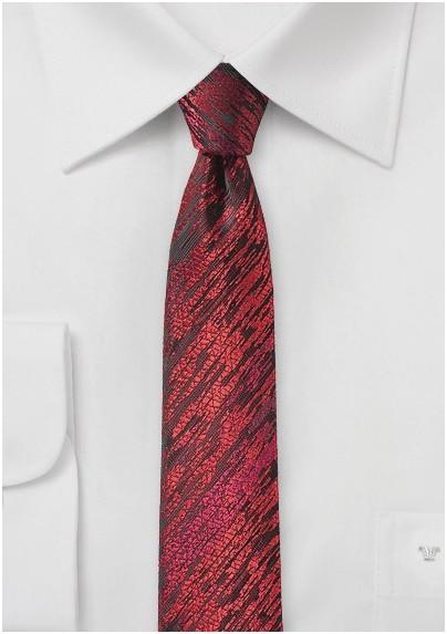 Trendy Skinny Tie with Wood Grain Texture