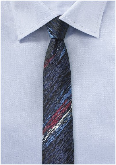 Super Skinny Designer Tie in Charcoal