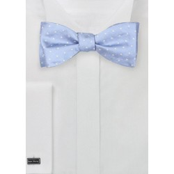 Soft Blue Bow Tie with Polka Dots