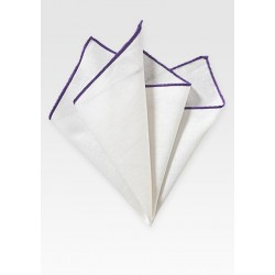 White Pocket Square with Purple Border