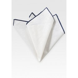 White Linen Hanky with Narrow Navy Border