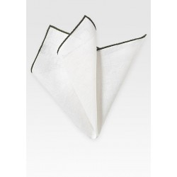 White and Dark Green Linen Pocket Square