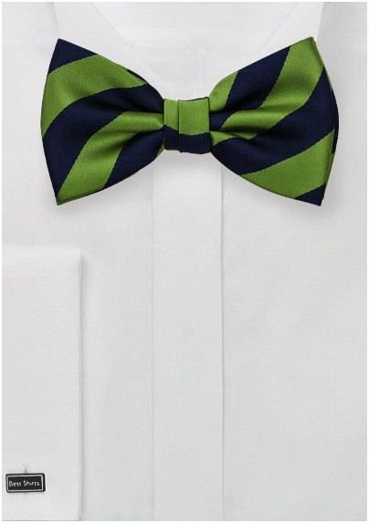 Classic Striped Bow Tie in Navy and Green
