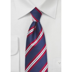 Preppy Striped Tie for Kids in Red and Navy