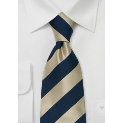 One Inch Striped Kids Tie in Blue and Gold