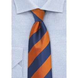 Repp Stripe Kids Tie in Navy and Orange