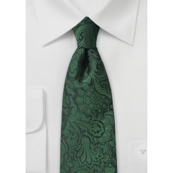 Forest Green Kids Paisley Tie