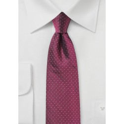 Pin Dot Silk Tie in Dark Cherry Red