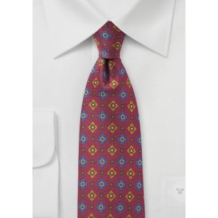 Wine Red Vintage Print Silk Tie