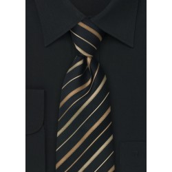 Black, Copper, Bronze Striped Kids Tie