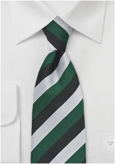 XL Repp Stripe Tie in Green, Silver, and Black