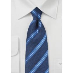 Modern Striped Silk Tie in Deep Blue