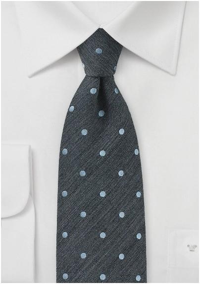 Raw Silk Polka Dot Tie in Pewter