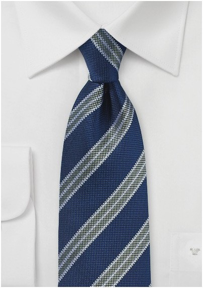 106a5056e531 Navy Blue Mens Tie with Olive and Silver Stripes