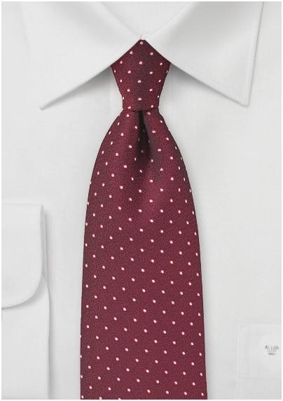 Textured Polka Dot Tie in Cherry