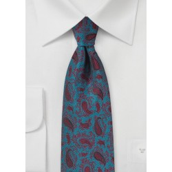 Teal Blue and Cherry Red Paisley Tie