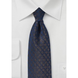 Elegant Mens Tie in Navy with Bronze