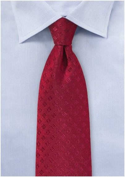 Shiny Woven Mens Tie in Red