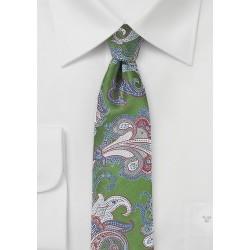 Paisley Summer Tie in Aspen Green