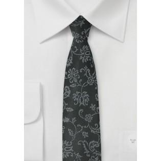 Black Designer Tie with Floral Weave
