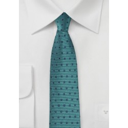 Teal Blue Tie with Navy Squares