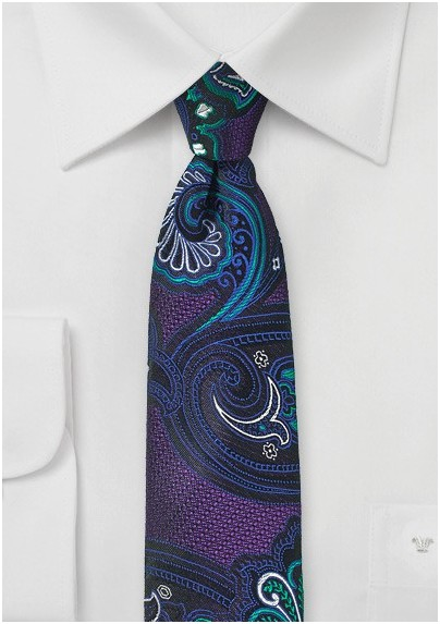 Psychedelic Paisley Tie in Purple and Turquoise