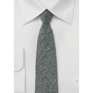Herringbone Raw Silk Mens Tie in Gray