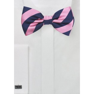Striped Bow Tie in Pink and Navy