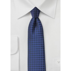 Houndstooth Check Tie in Twilight Blue