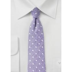 Pastel Lilac Linen Polka Dot Tie