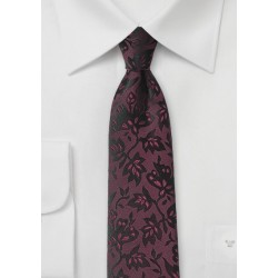 Floral Tie in Oxblood Red