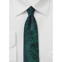 Floral Silk Tie in Pine Green