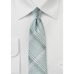 Modern Plaid Tie in Silver and Mint