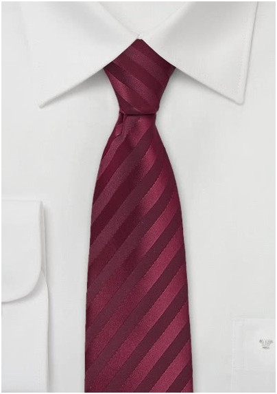 Burgundy Red Skinny Tie with Stripes