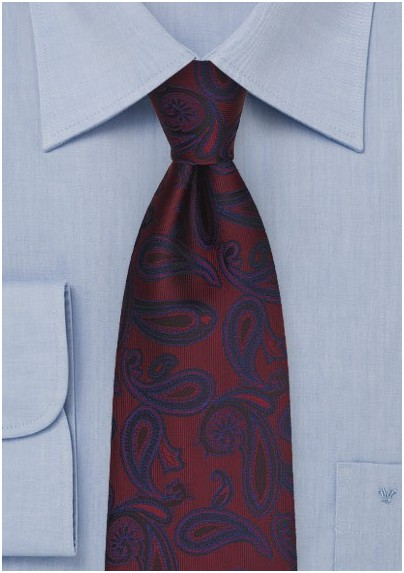 Maroon and Navy Paisley Tie