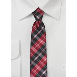 Bold Tartan Plaid Tie in Red and Black