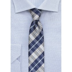 Tartan Plaid Tie in Royal Blue and Silver